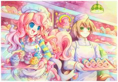 Pinkie Pie and Donut Joe by emperpep on DeviantArt  Pinkie Pie looks so cute in this picture ><