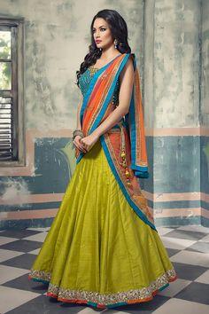 c80972d0f9 Buy Blue - Green Bhagalpuri Silk Lehenga Choli at Rs. Get Lehenga for  womens at Peachmode.