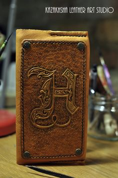 Leather cover with carved letters for slim diary, organizer, telephone book by KazakhshaStyle on Etsy
