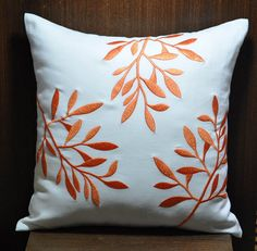 couch pillows 155303887139998222 - Orange White Decorative Pillow Cover, White Linen Pillow Orange Leaves, Embroidered Couch Pillow, Le Source by etsy Floral Pillows, Diy Pillows, Linen Pillows, Linen Fabric, Couch Pillows, Cheap Decorative Pillows, Decorative Pillow Covers, Decorative Throw Pillows, White Pillow Covers
