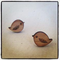 SALE 15% OFF Bird earrings - wooden eco friendly wood bird studs earrings. $18.70, via Etsy.