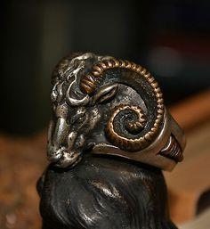 Mens-Rams-Head-Ring-925-Sterling-Silver-14K-Gold-Aries-Ram-Occult