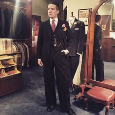 @h.arg with a Swedish 1930's pinstripe suit. Exceptional fit without any alterations at all! #vintage #menswear #mensvintage #1930s #pinstripe #pinstripesuit #dandy #dapper #spats #bouttoniere #menssuit #mensvintagesuit #gentleman #classicmenswear