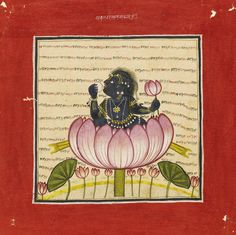 The infant Krishna seated in a lotus blossom, attributable to an early Master of the Bahu School, Bahu (Jammu), Punjab Hills, circa 1700-10