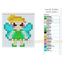 Disney Tinker Bell free perler beads pattern 20 x 20 beads 10 colors