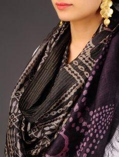 Black-Beige-Wine Tussar Silk Batik Printed Stole
