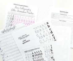 (#4) Lettering & Handwriting Worksheets: Round up  ~ Pretty Prints & Paper (Jessica Chung)