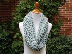 Knit Infinity Scarf Hand Knit Scarf Pale Blue by TheKnottyNeedle