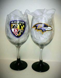 For Katie: https://www.etsy.com/listing/123403262/baltimore-ravens-painted-wine-glasses