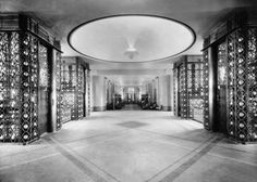 First Class Lobby, SS Normandie, French Line (CGT) 1935.