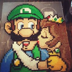 Luigi and Daisy perler bead art by sajagee