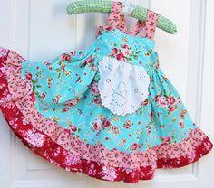 Girls Spring Flowers Apron Knot Dress 6M - 5T. $50.00, via Etsy.