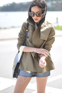 Swingy trench jacket and cut offs // via 9to5 Chic