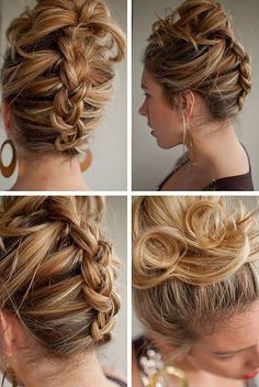 french braid from the bottom, then into cute mess bun.