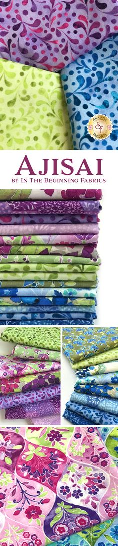 Ajisai by Jason Yenter is a lovely collection filled with beautiful floral prints and bright colors from In The Beginning Fabrics available at Shabby Fabrics.