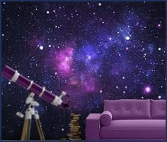 galaxy photo wall mural-celestial themed bedroom decorating celestial theme rooms