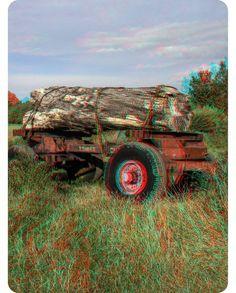 A Log Trailer In Heacham - 3D Anaglyph Photography.