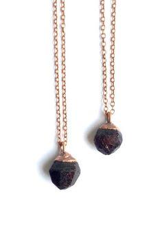 "RAW GARNET necklace on 18"" chain"