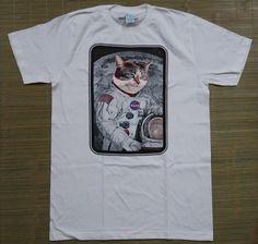 NASA White Tee Shirt Cat Head in Space Med Retro Teen Fashion Astronaught | eBay
