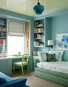 dormitorio escritorio azul