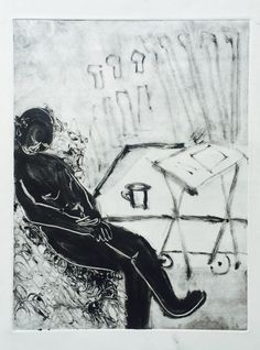 """Holly Froy """"Dropping Off"""" Monoprint on paper"""