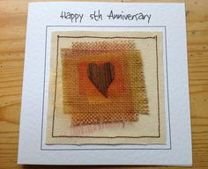 5th wedding anniversary card. Fifth wood anniversary card for husband or wife. Customised with your words printed at the top of the card. by FiddlethreadStudio on Etsy