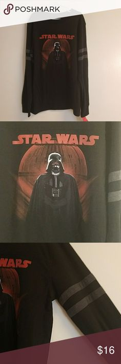 NWT STAR WARS Disney Darth Vader Long Sleeve Black long sleeve with 2 grey stripes on each sleeve. Darth Vader / Death Star Graphic on the front. Disney Star Wars Rogue One. New with tags. Boys Size Medium 10/12  //062 Star Wars Shirts & Tops Tees - Long Sleeve