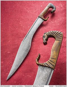 Photos - SharpByCoop's Gallery of Handmade Knives Swords And Daggers, Knives And Swords, Katana, Medieval Weapons, Arm Armor, Handmade Knives, Fantasy Weapons, Cold Steel, Damascus Steel
