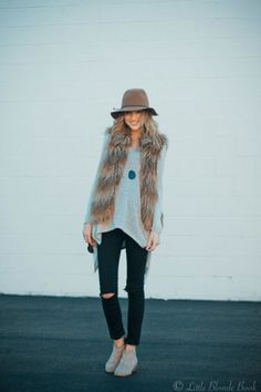 Faux Fur and ripped jeans