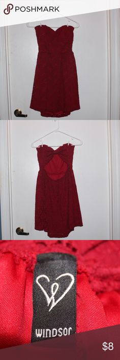 Windsor Red Crochet Bow-Back Strapless Dress Worn once. All items will be washed prior to being adorably wrapped and shipped to your destination! 😊 WINDSOR Dresses Strapless