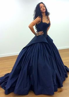 Blue Straps Ball Gown Satin Prom Dresses 2017