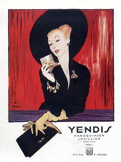 Yendis Handbags 1946 Rene Gruau Vintage advert Fashion Goods illustrated by Rene Gruau   Hprints.com
