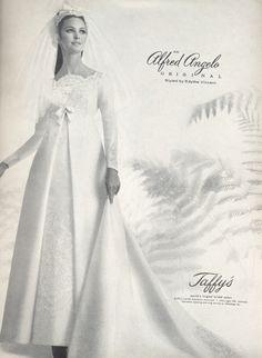 An Alfred Angelo original styled by Edythe Vincent, July 1967, vintage designer fashion bride ad