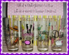 SOLD Diva Novelty Shot Glasses 2 0z Set of 4 Formation Brands, Inc. Hand wash These girlie shot glasses are embellished with paint and rhinestones to reflect 4 personalities. They are high maintenance, shopaholic, queen of everything and diva. The glasses have never been used and only taken out of the box for the 'photo shoot'. A fun set to have for your ladies night.
