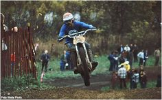 """Barry Higgins lofts his Yellow Tank CZ at the 1971 Delta Ohio Trans-AMA.  """" 1970  Delta Ohio Trans-AMA, was the first time i ever saw a rider use the wheel of another rider as the berm!"""""""
