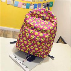 93801361dc Emoji Backpack Pretty Style Womens Canvas Backpack Emoji Face Printing School  Bag For Teenager Girls
