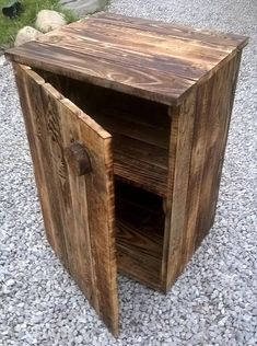 DIY Pallet nightstand.  Cover door with mirrored material, then cover with silver radiator tin.