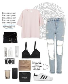 """Day at the mall"" by joycereina ❤ liked on Polyvore featuring Topshop, Monki, adidas Originals, Chloé, Casetify, Louis Vuitton, L:A Bruket, NARS Cosmetics and Chanel"