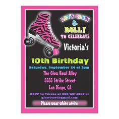 Roller Skate Birthday Invitations Glow in the dark roller Skating party invitations