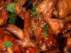 Teriyaki Chicken Wings With Sesame And Cilantro recipe from Tyler Florence via Food Network