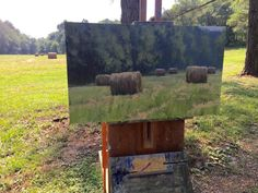 Scene, Texture, Landscape, Artist, Hay Bales, Crafts, Painting, Firewood, Woodburning