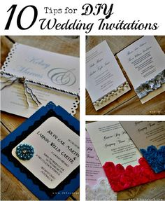 Top 10 tips on how to DIY #Wedding Invitations! Ideas on how to print, cut, and embellish them yourself.
