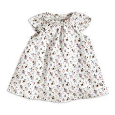 Patterned Cotton Dress, White, Newborn (0-6 months), Kids | Lindex