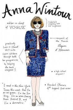 Sketched: 26 Illustrations of Major Fashion Editors   Anna Wintour, Vogue Editor in Chief - WhoWhatWear