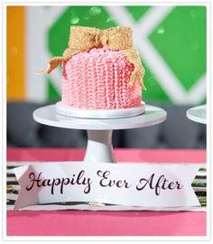 beautiful pink&gold wedding cake!