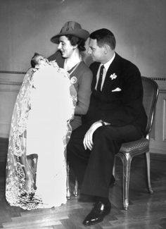 Queen Ingrid and King Frederick IX of Denmark with there daughter, Princess Margrethe, future Queen of Denmark, 1940.
