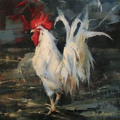 Cool Paintings, Animal Paintings, Rooster Painting, Chicken Art, Oil Painters, Bird Art, Painting Inspiration, Farm Animals, Pet Birds