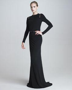 B21LJ Elie Saab Long-Sleeve Jersey Gown