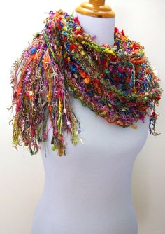 Shimmer Hand Knit Scarf Vivid Multicolored Hue Fringy Accents Imported Hand Tied Yarns Extra Long One of a Kind Style