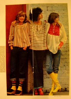 Pat Cleveland in the middle; 1970's cute smock tops